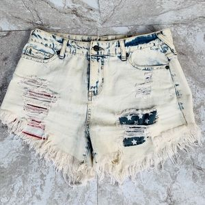 Distress Acid Wash Shorts w/ American Flag Pocket